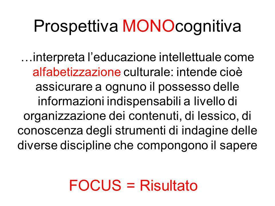 Prospettiva MONOcognitiva …interpreta leducazione intellettuale come alfabetizzazione culturale: intende cioè assicurare a ognuno il possesso delle in