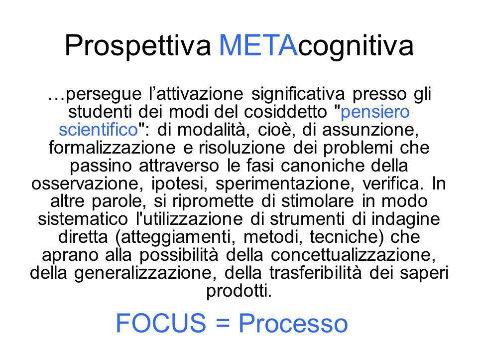 Prospettiva METAcognitiva …persegue lattivazione significativa presso gli studenti dei modi del cosiddetto