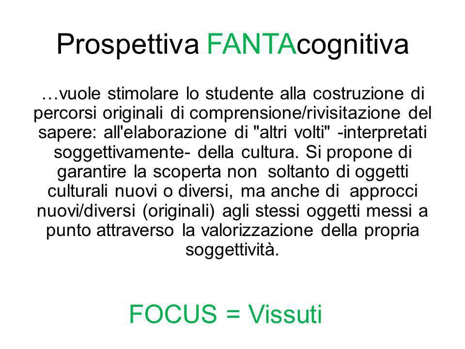 Prospettiva FANTAcognitiva …vuole stimolare lo studente alla costruzione di percorsi originali di comprensione/rivisitazione del sapere: all'elaborazi