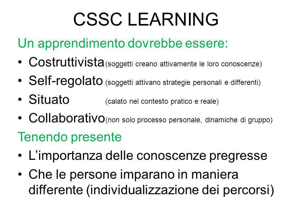 CSSC LEARNING Un apprendimento dovrebbe essere: Costruttivista (soggetti creano attivamente le loro conoscenze) Self-regolato (soggetti attivano strat
