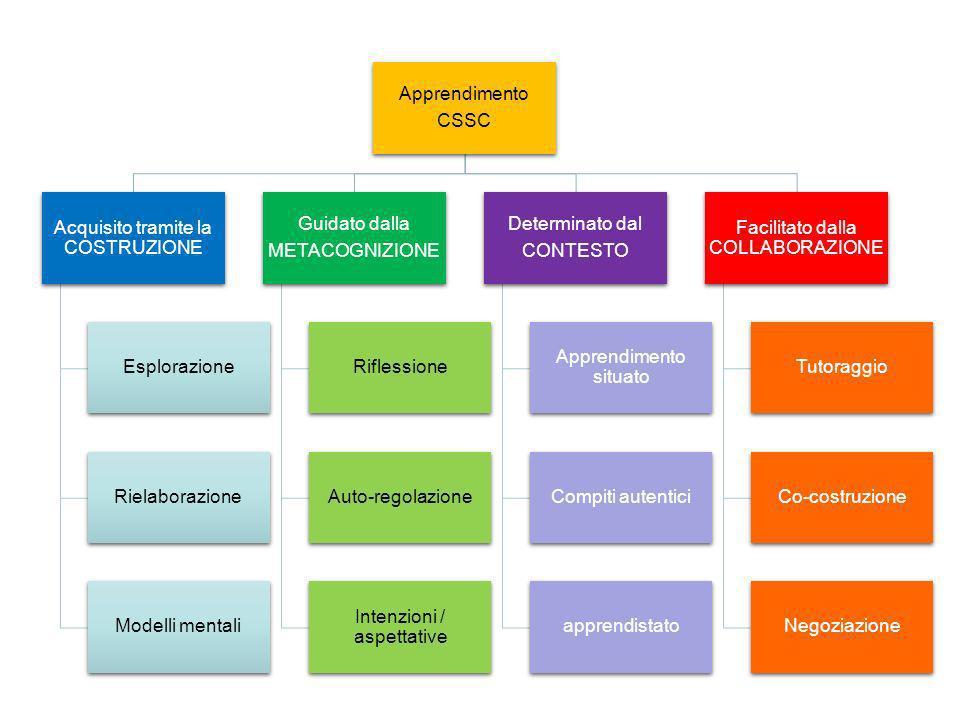 Apprendimento CSSC Acquisito tramite la COSTRUZIONE Esplorazione Rielaborazione Modelli mentali Guidato dalla METACOGNIZIONE Riflessione Auto-regolazi
