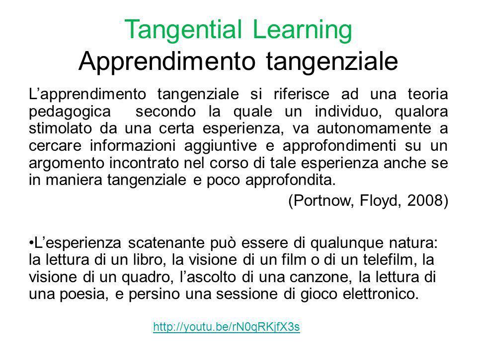 Tangential Learning Apprendimento tangenziale Lapprendimento tangenziale si riferisce ad una teoria pedagogica secondo la quale un individuo, qualora