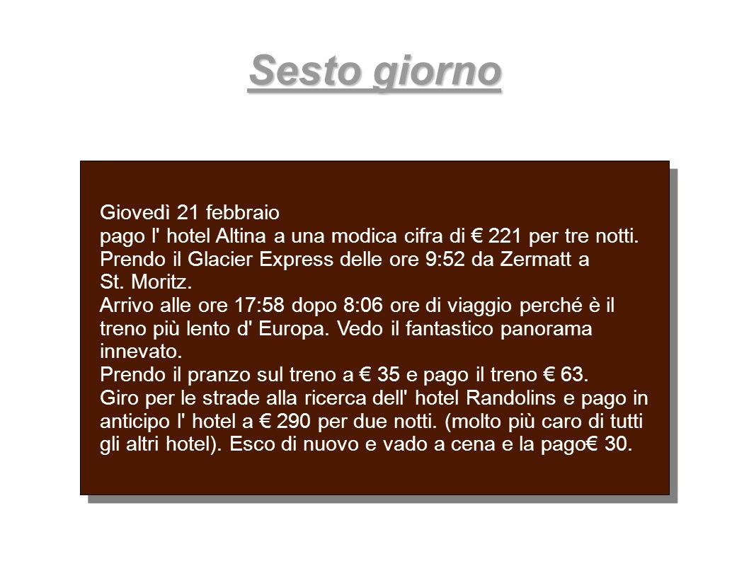 Sesto giorno Giovedì 21 febbraio pago l' hotel Altina a una modica cifra di 221 per tre notti. Prendo il Glacier Express delle ore 9:52 da Zermatt a S