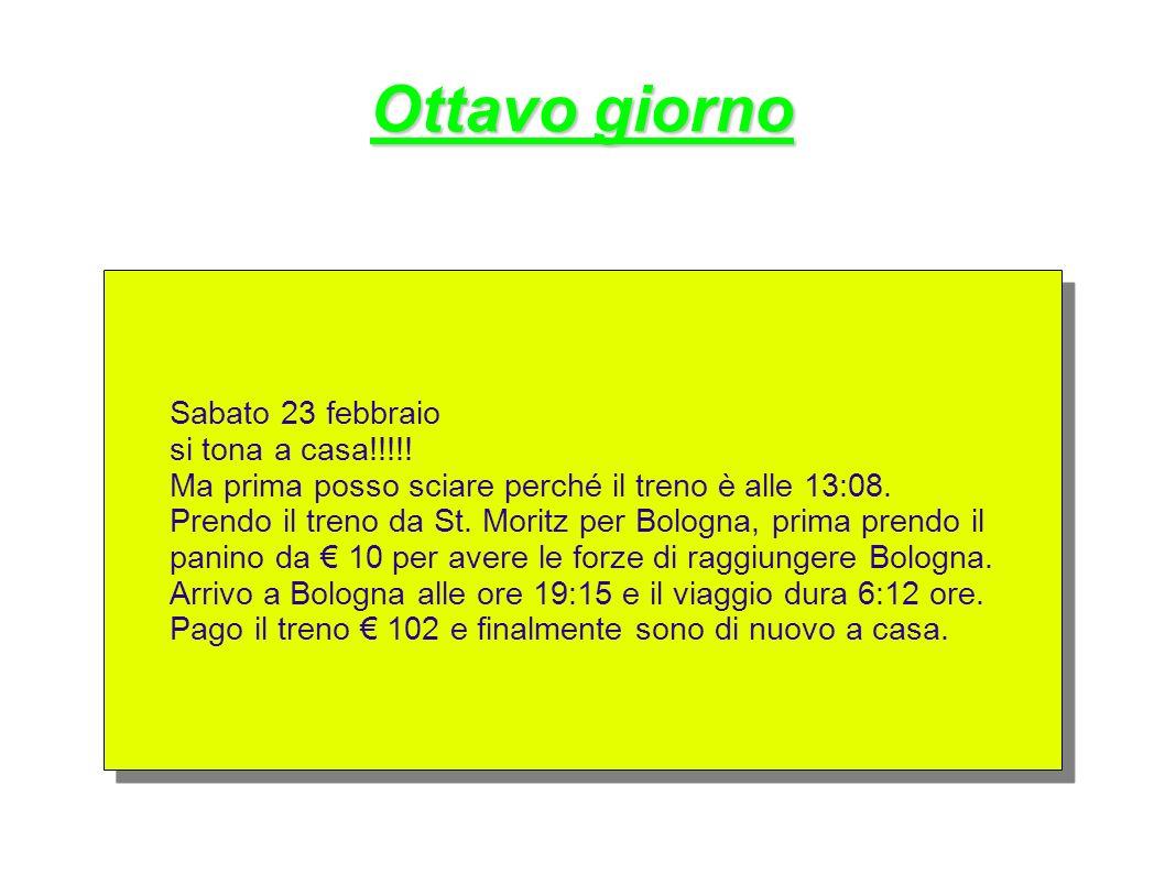 Ottavo giorno Sabato 23 febbraio si tona a casa!!!!! Ma prima posso sciare perché il treno è alle 13:08. Prendo il treno da St. Moritz per Bologna, pr