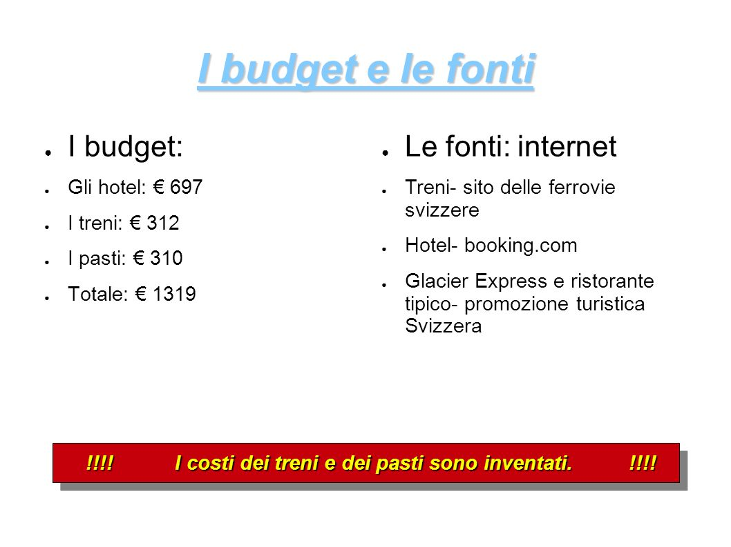 I budget: Gli hotel: 697 I treni: 312 I pasti: 310 Totale: 1319 I budget e le fonti Le fonti: internet Treni- sito delle ferrovie svizzere Hotel- book