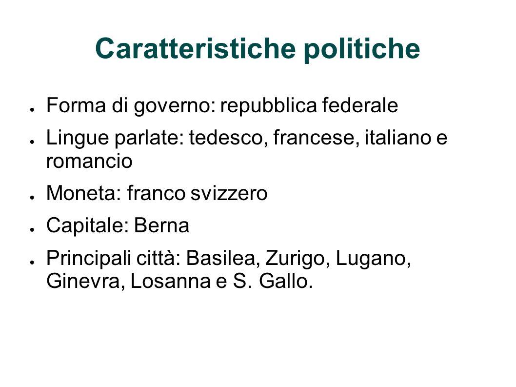 Caratteristiche politiche Forma di governo: repubblica federale Lingue parlate: tedesco, francese, italiano e romancio Moneta: franco svizzero Capital