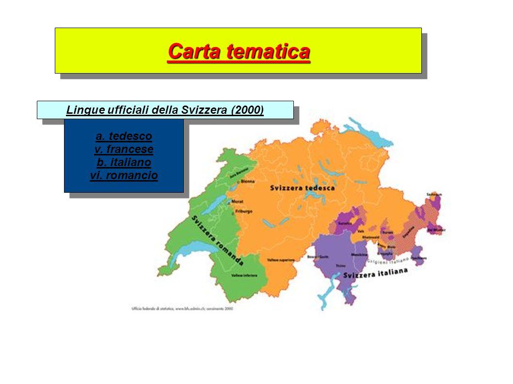 Carta tematica Lingue ufficiali della Svizzera (2000) a. tedesco v. francese b. italiano vi. romancio a. tedesco v. francese b. italiano vi. romancio