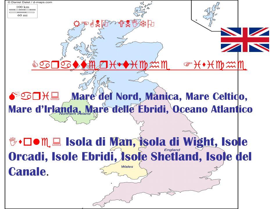 REGNO UNITO Caratteristiche Fisiche Mari: Mare del Nord, Manica, Mare Celtico, Mare dIrlanda, Mare delle Ebridi, Oceano Atlantico Isole: Isola di Man,