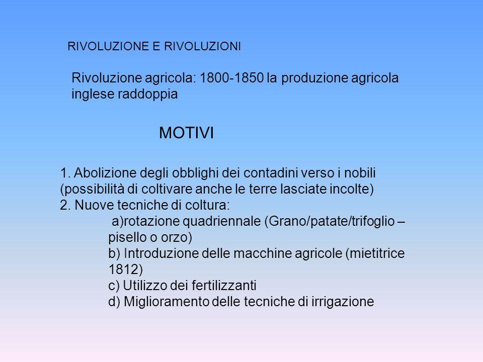 RIVOLUZIONE E RIVOLUZIONI Rivoluzione agricola: 1800-1850 la produzione agricola inglese raddoppia 1. Abolizione degli obblighi dei contadini verso i