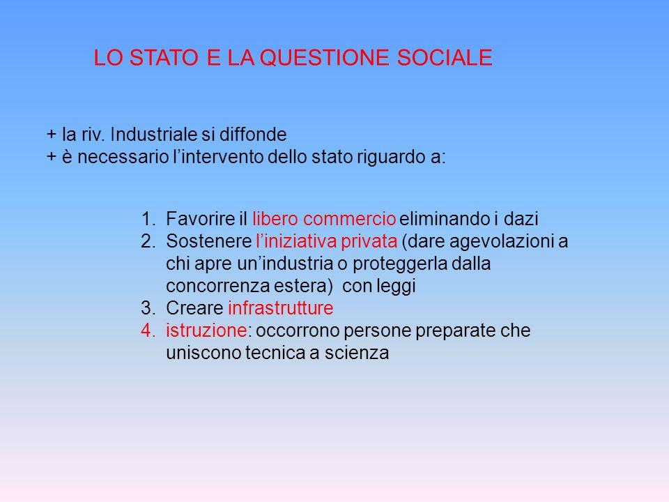 LO STATO E LA QUESTIONE SOCIALE + la riv. Industriale si diffonde + è necessario lintervento dello stato riguardo a: 1.Favorire il libero commercio el