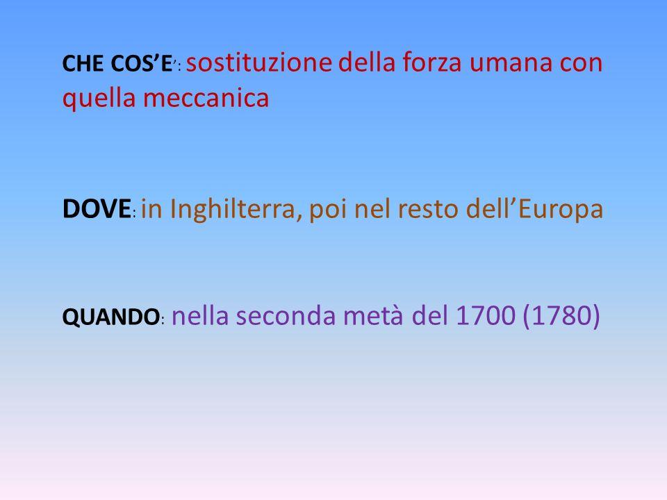 CHE COSE : sostituzione della forza umana con quella meccanica DOVE : in Inghilterra, poi nel resto dellEuropa QUANDO : nella seconda metà del 1700 (1