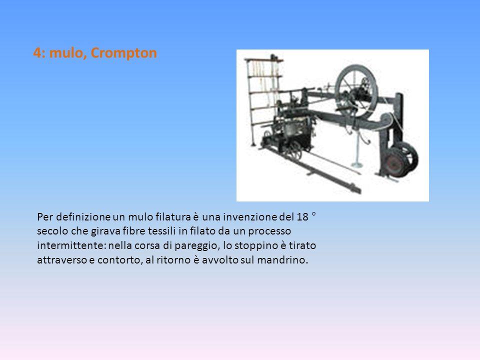 4: mulo, Crompton Per definizione un mulo filatura è una invenzione del 18 ° secolo che girava fibre tessili in filato da un processo intermittente: n