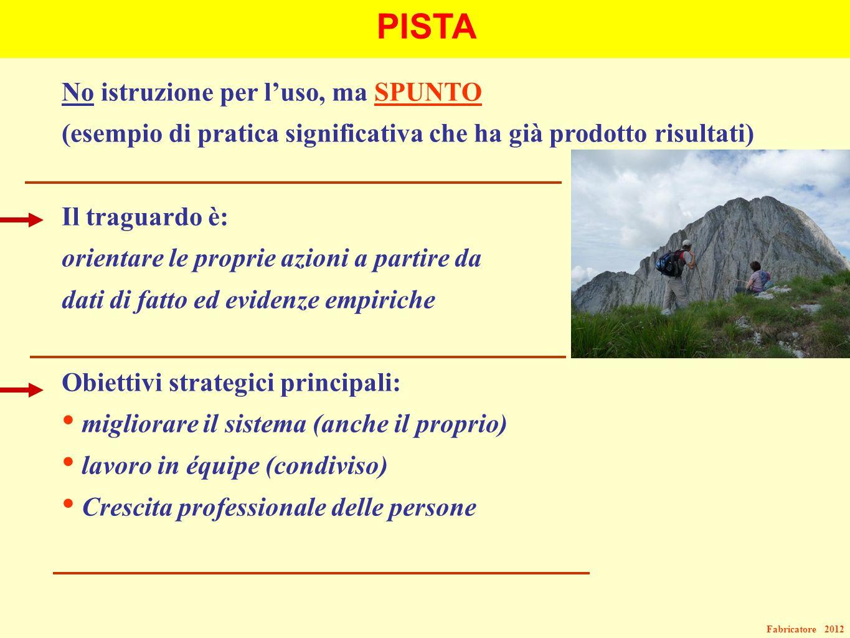Fabricatore 2012 PISTA No istruzione per luso, ma SPUNTO (esempio di pratica significativa che ha già prodotto risultati) Il traguardo è: orientare le