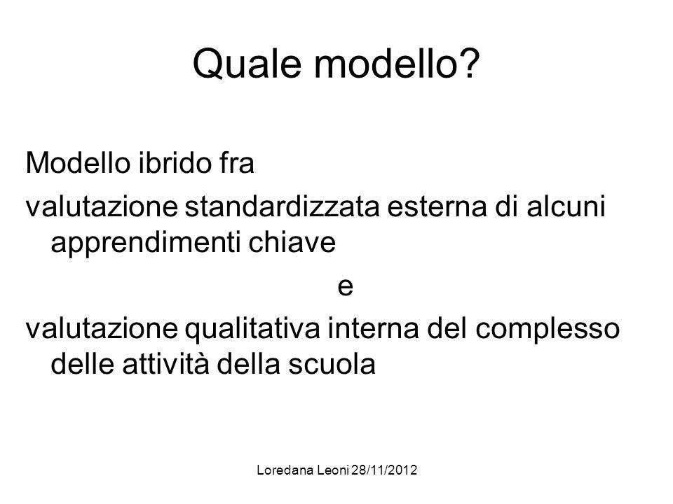 Loredana Leoni 28/11/2012 Quale modello? Modello ibrido fra valutazione standardizzata esterna di alcuni apprendimenti chiave e valutazione qualitativ