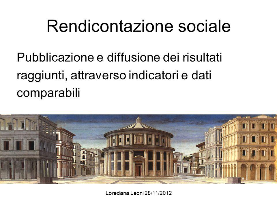 Loredana Leoni 28/11/2012 Rendicontazione sociale Pubblicazione e diffusione dei risultati raggiunti, attraverso indicatori e dati comparabili