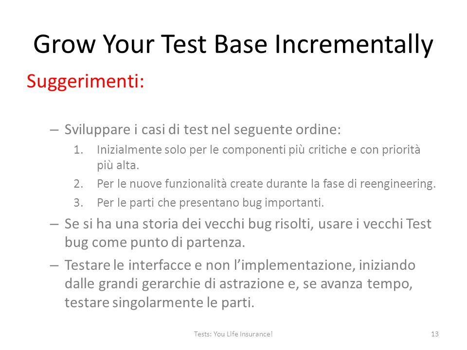 Suggerimenti: – Sviluppare i casi di test nel seguente ordine: 1.Inizialmente solo per le componenti più critiche e con priorità più alta.