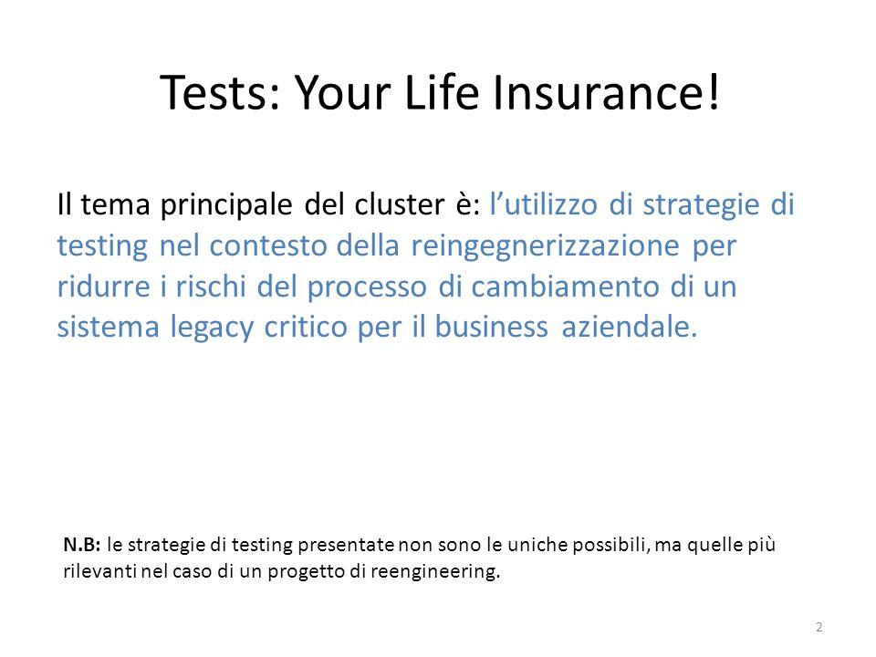 Tests: Your Life Insurance! 2 Il tema principale del cluster è: lutilizzo di strategie di testing nel contesto della reingegnerizzazione per ridurre i