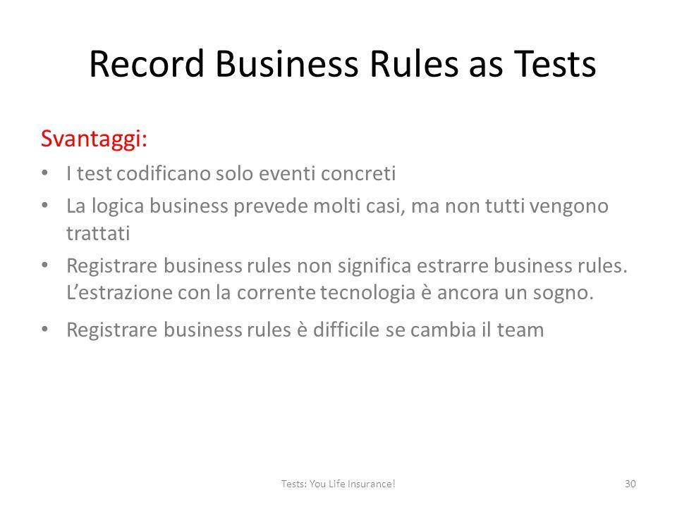 Record Business Rules as Tests Svantaggi: I test codificano solo eventi concreti La logica business prevede molti casi, ma non tutti vengono trattati Registrare business rules non significa estrarre business rules.