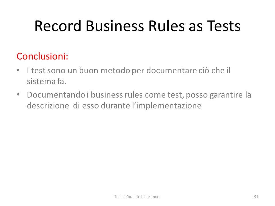 Record Business Rules as Tests Conclusioni: I test sono un buon metodo per documentare ciò che il sistema fa.
