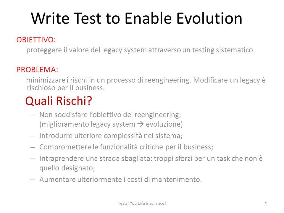 Write Test to Enable Evolution OBIETTIVO: proteggere il valore del legacy system attraverso un testing sistematico.