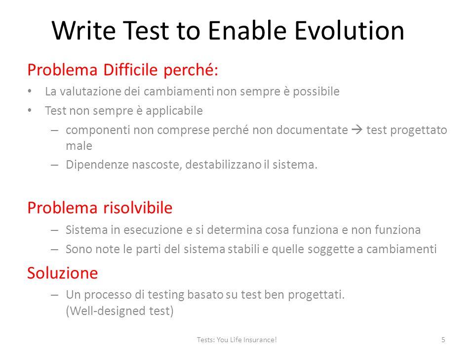Problema Difficile perché: La valutazione dei cambiamenti non sempre è possibile Test non sempre è applicabile – componenti non comprese perché non documentate test progettato male – Dipendenze nascoste, destabilizzano il sistema.