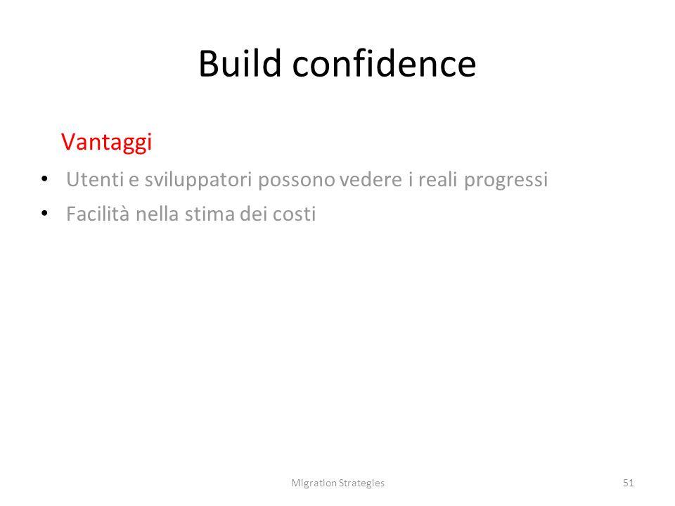 Migration Strategies51 Build confidence Vantaggi Utenti e sviluppatori possono vedere i reali progressi Facilità nella stima dei costi
