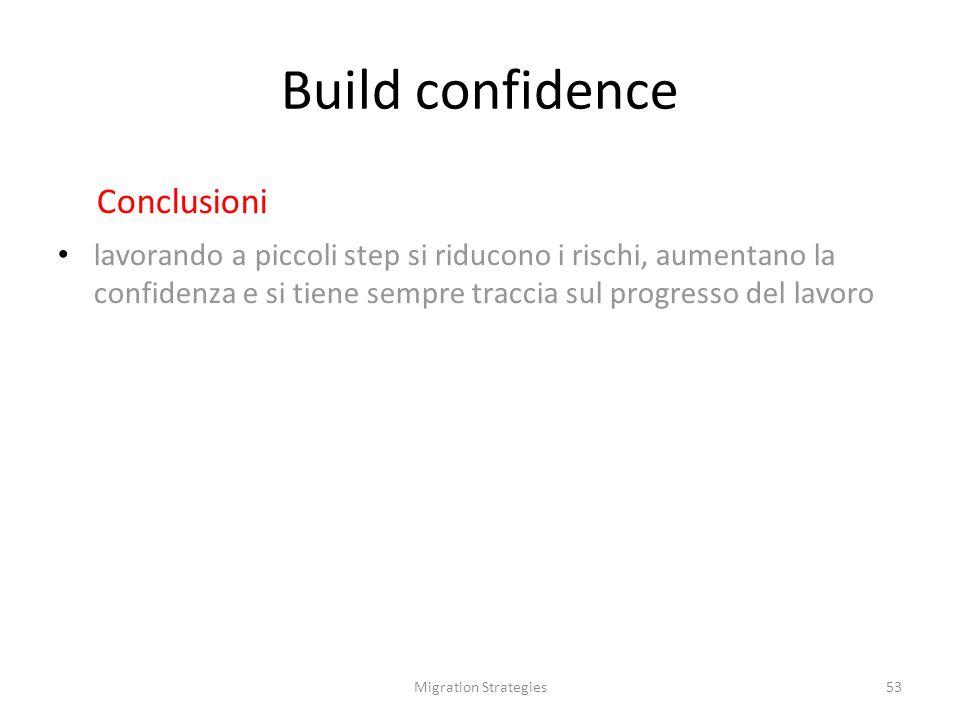 Migration Strategies53 Build confidence Conclusioni lavorando a piccoli step si riducono i rischi, aumentano la confidenza e si tiene sempre traccia sul progresso del lavoro