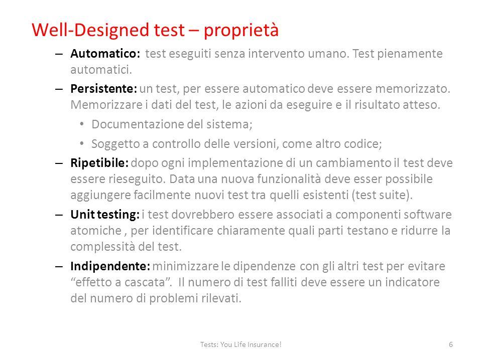 Well-Designed test – proprietà – Automatico: test eseguiti senza intervento umano.