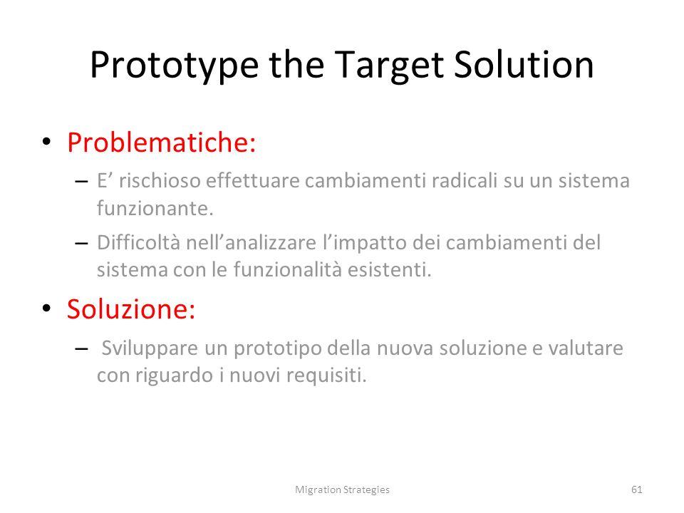 Migration Strategies61 Prototype the Target Solution Problematiche: – E rischioso effettuare cambiamenti radicali su un sistema funzionante.