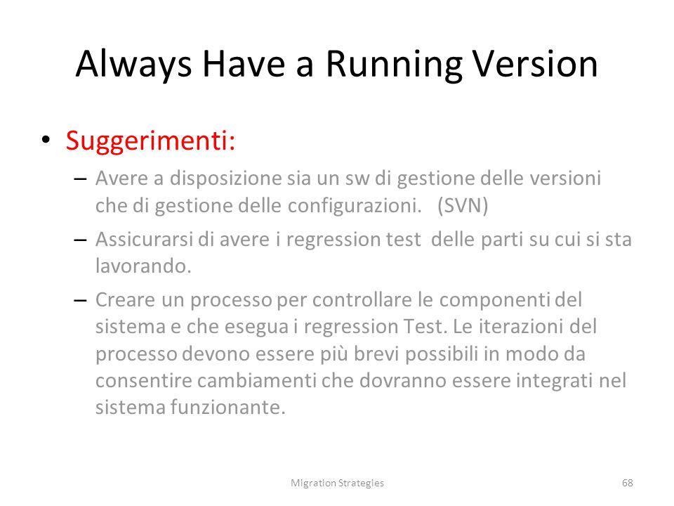 Migration Strategies68 Always Have a Running Version Suggerimenti: – Avere a disposizione sia un sw di gestione delle versioni che di gestione delle configurazioni.
