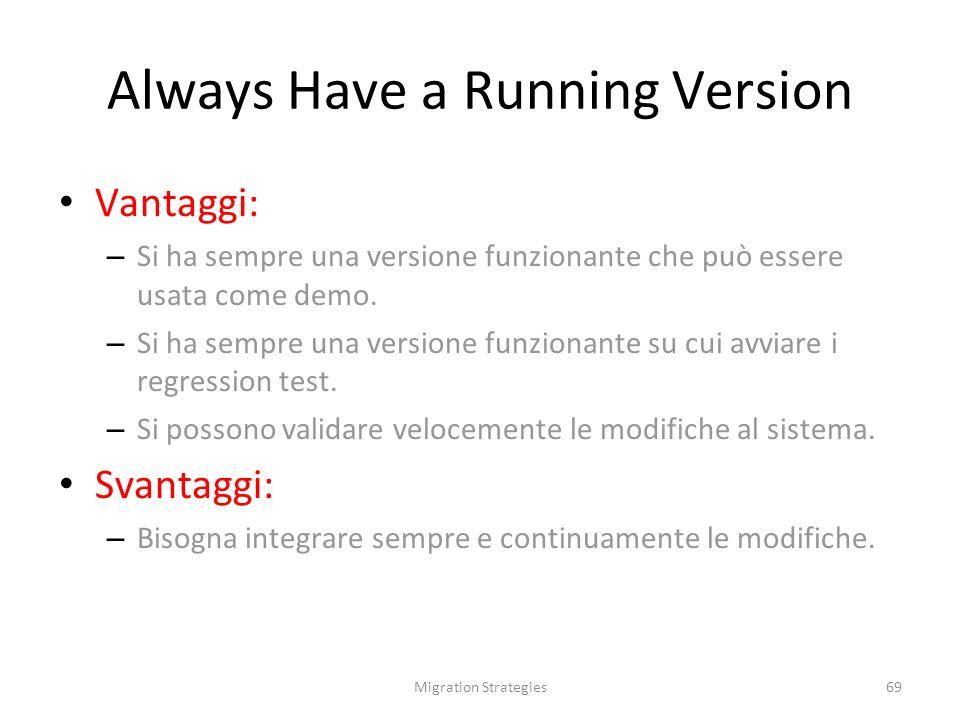 Migration Strategies69 Always Have a Running Version Vantaggi: – Si ha sempre una versione funzionante che può essere usata come demo.