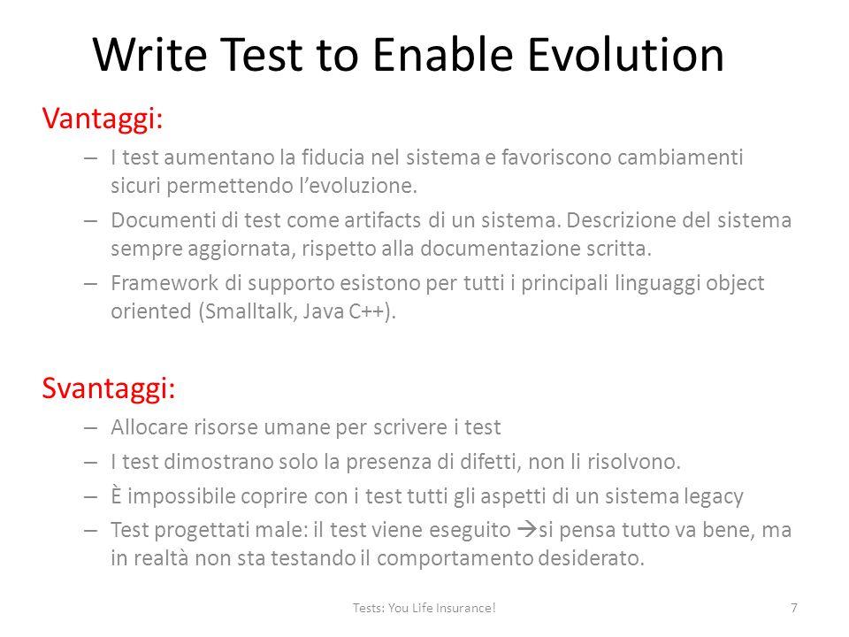Vantaggi: – I test aumentano la fiducia nel sistema e favoriscono cambiamenti sicuri permettendo levoluzione.