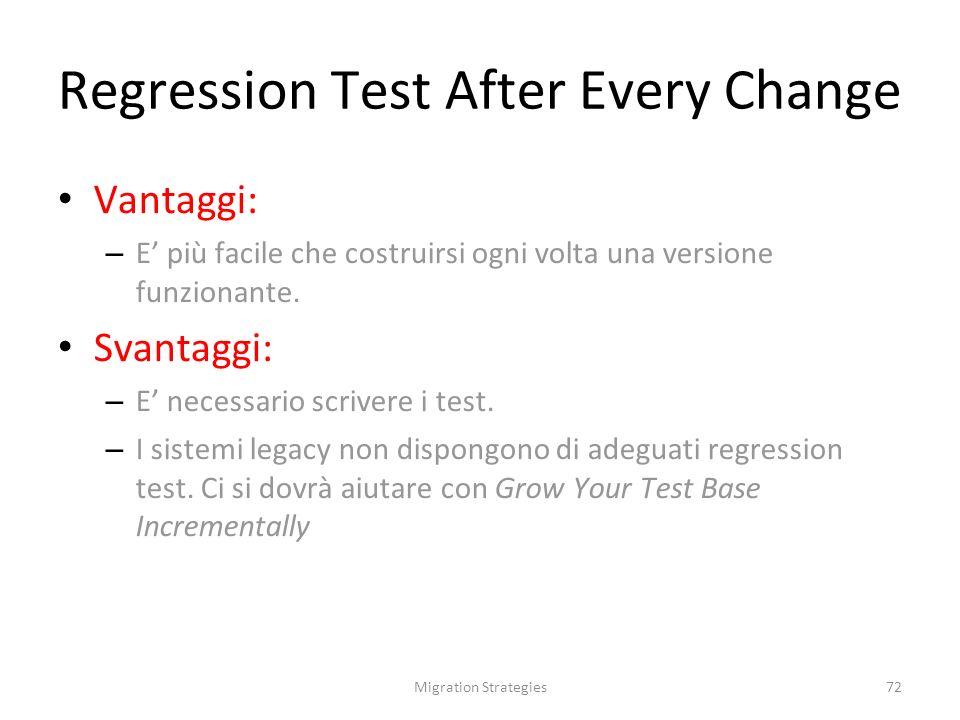 Migration Strategies72 Regression Test After Every Change Vantaggi: – E più facile che costruirsi ogni volta una versione funzionante.