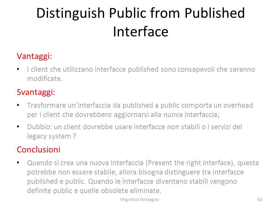 Migration Strategies83 Vantaggi: I client che utilizzano interfacce published sono consapevoli che saranno modificate.