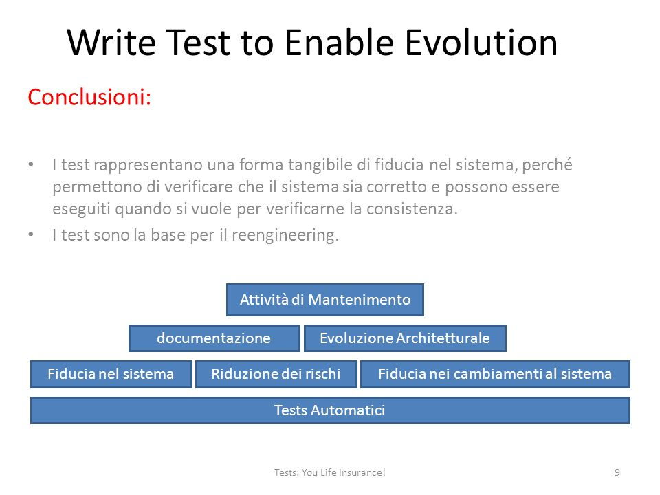Relazioni con altri pattern: – Always have a running version – Migrate system incrementally – Grow your test base incrementally – Test the interface, not the implementation Tests: You Life Insurance!10 Write Test to Enable Evolution