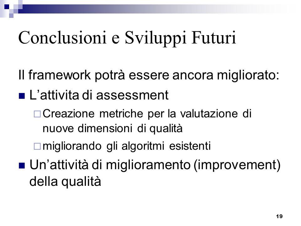 19 Conclusioni e Sviluppi Futuri Il framework potrà essere ancora migliorato: Lattivita di assessment Creazione metriche per la valutazione di nuove d