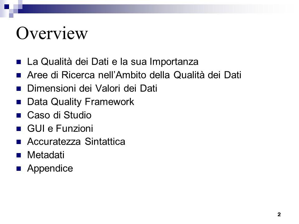 2 Overview La Qualità dei Dati e la sua Importanza Aree di Ricerca nellAmbito della Qualità dei Dati Dimensioni dei Valori dei Dati Data Quality Frame
