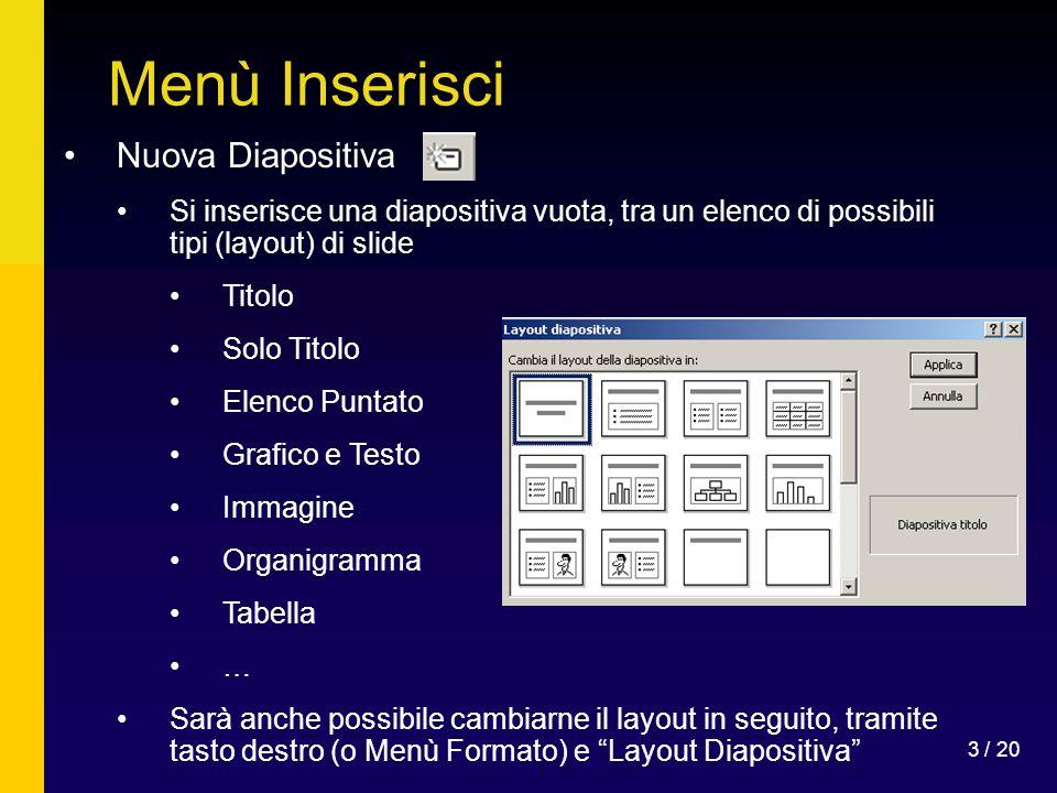 3 / 20 Menù Inserisci Nuova Diapositiva Si inserisce una diapositiva vuota, tra un elenco di possibili tipi (layout) di slide Titolo Solo Titolo Elenc