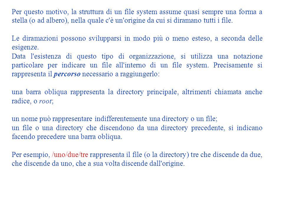 File system Il file system è il sistema che organizza i file all interno dei dispositivi di memorizzazione ad accesso diretto.