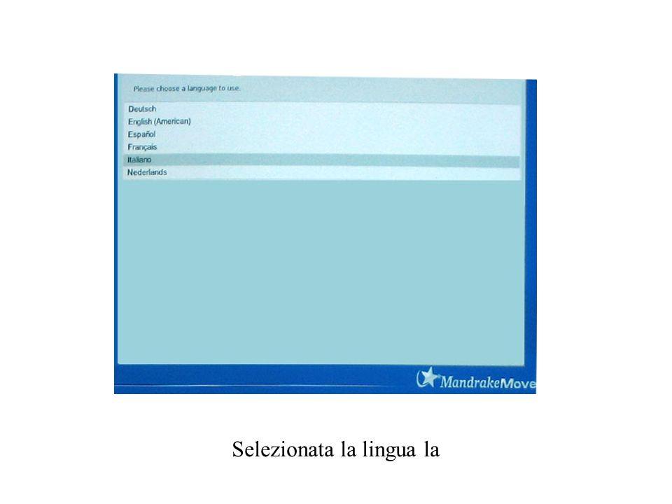 Basta premere invio e si accede alla schermata successiva dove si seleziona la lingua.