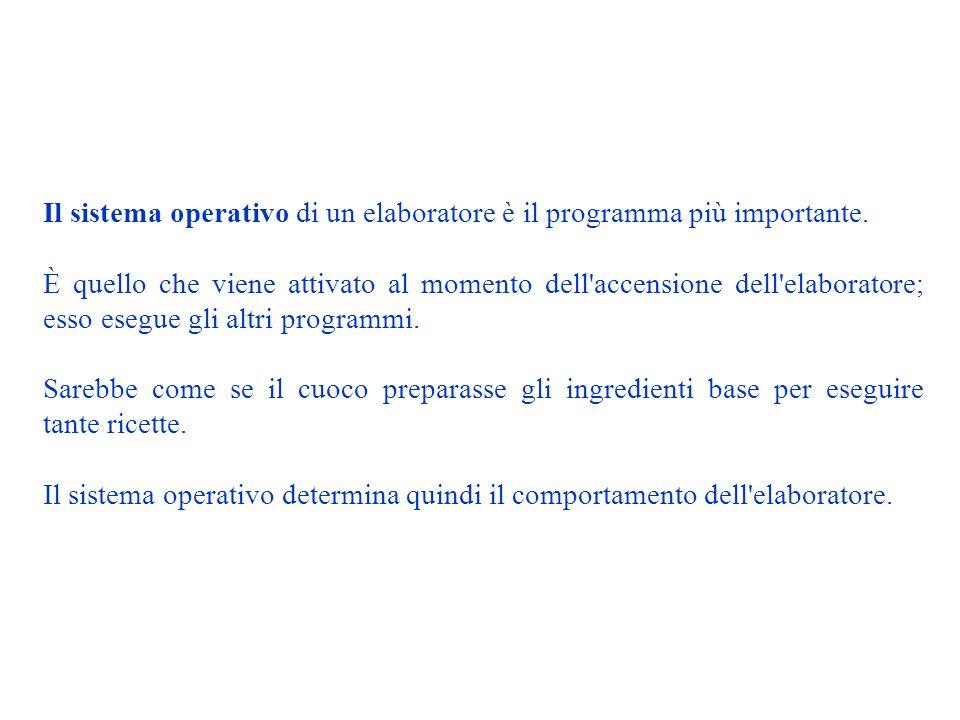 Il sistema operativo di un elaboratore è il programma più importante.