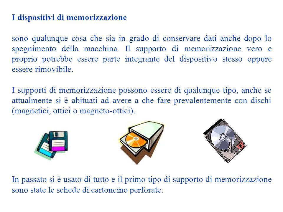 I dispositivi di memorizzazione sono qualunque cosa che sia in grado di conservare dati anche dopo lo spegnimento della macchina.