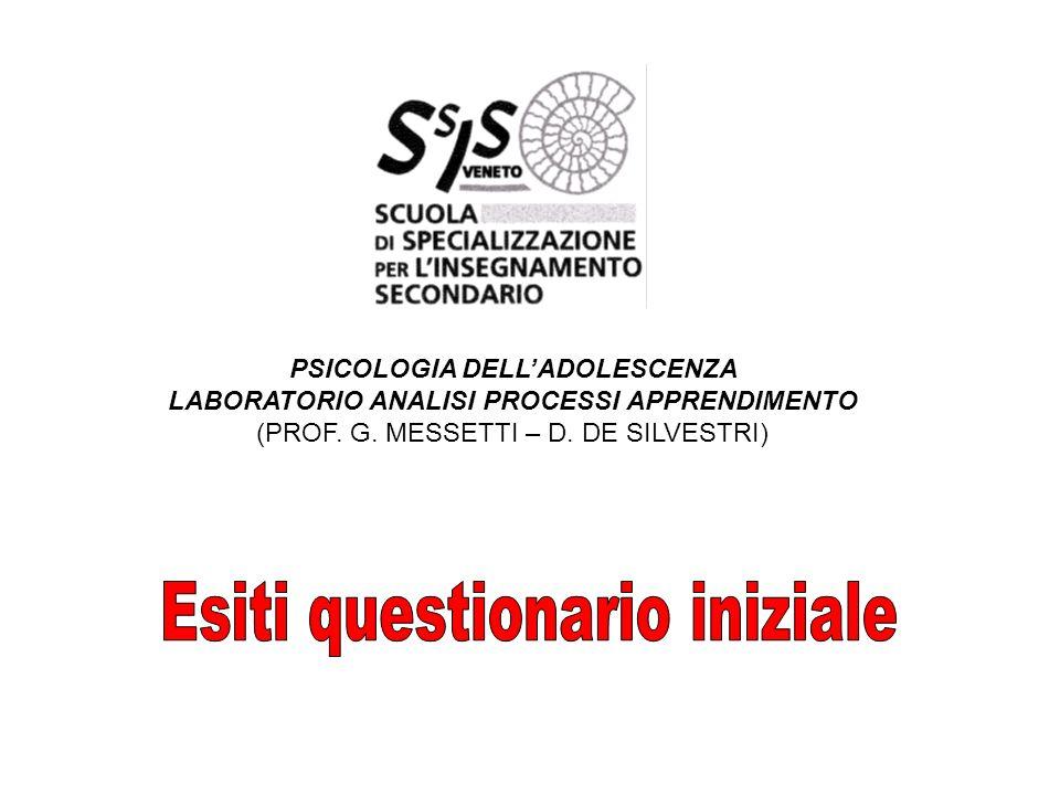 PSICOLOGIA DELLADOLESCENZA LABORATORIO ANALISI PROCESSI APPRENDIMENTO (PROF.