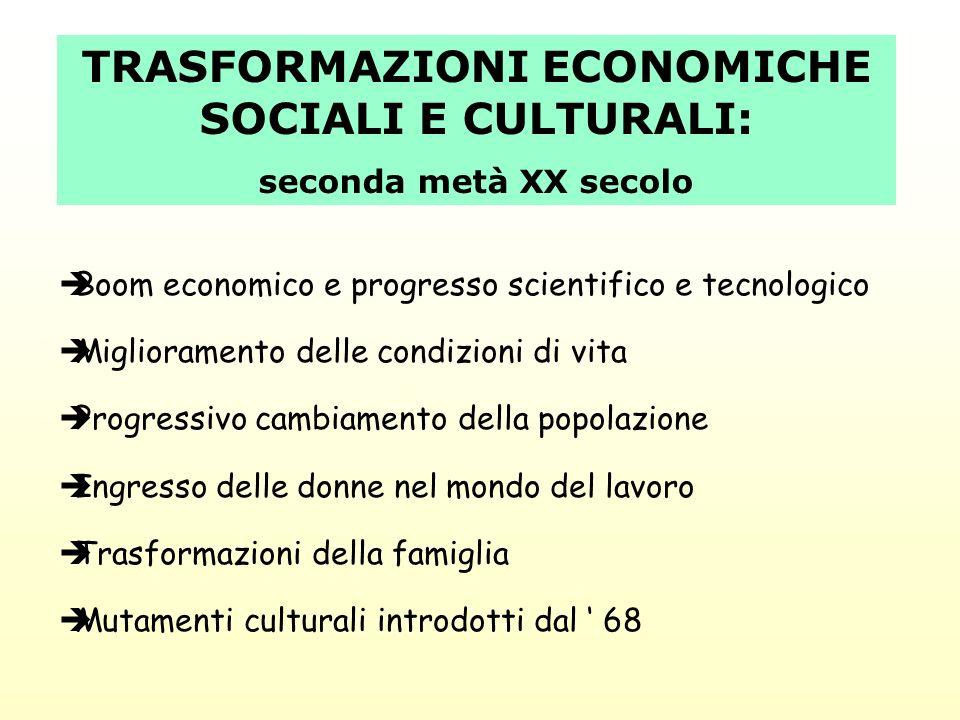 TRASFORMAZIONI ECONOMICHE SOCIALI E CULTURALI: seconda metà XX secolo Boom economico e progresso scientifico e tecnologico Miglioramento delle condizi