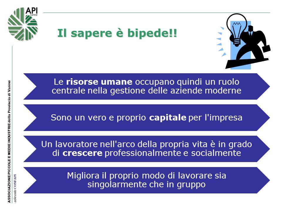 ASSOCIAZIONE PICCOLE E MEDIE INDUSTRIE della Provincia di Varese aderente CONFAPI Il sapere è bipede!! Le risorse umane occupano quindi un ruolo centr