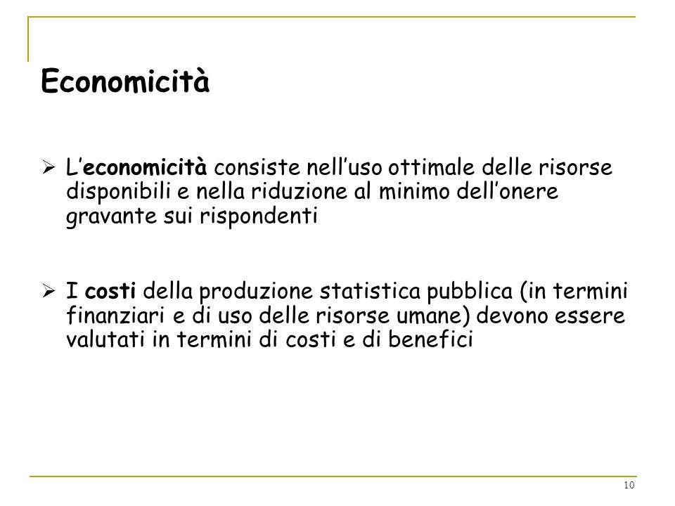 10 Economicità Leconomicità consiste nelluso ottimale delle risorse disponibili e nella riduzione al minimo dellonere gravante sui rispondenti I costi