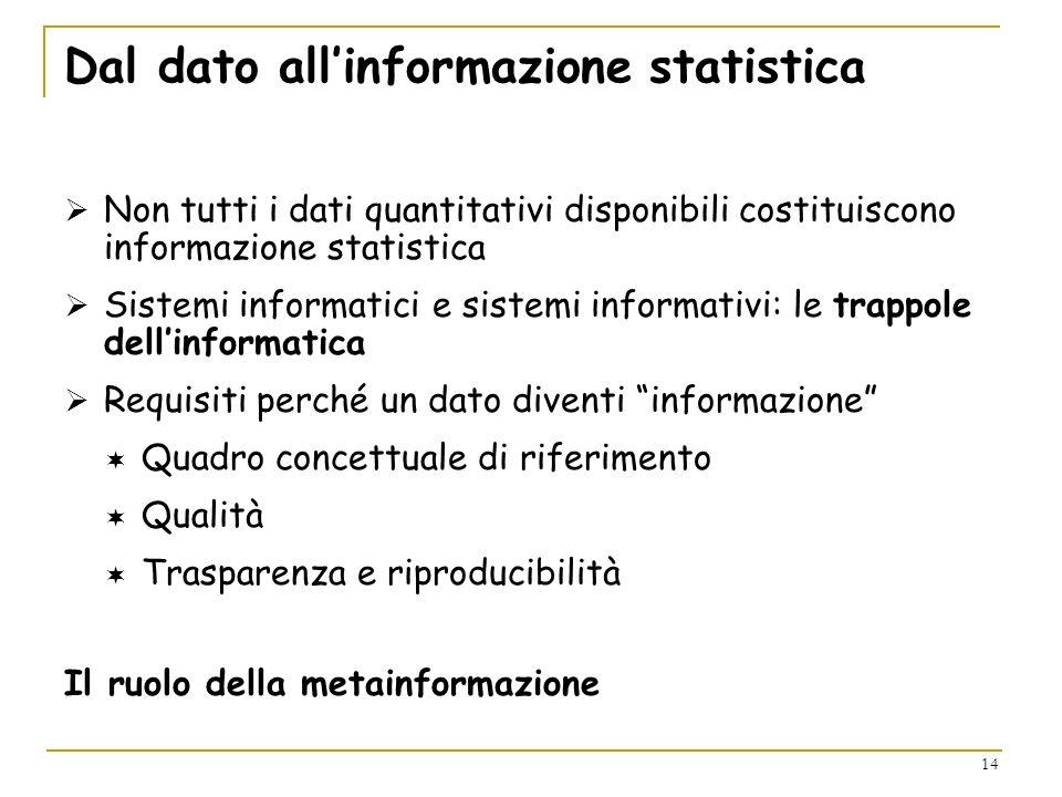 14 Dal dato allinformazione statistica Non tutti i dati quantitativi disponibili costituiscono informazione statistica Sistemi informatici e sistemi i