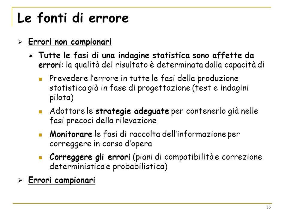 16 Le fonti di errore Errori non campionari Tutte le fasi di una indagine statistica sono affette da errori: la qualità del risultato è determinata da