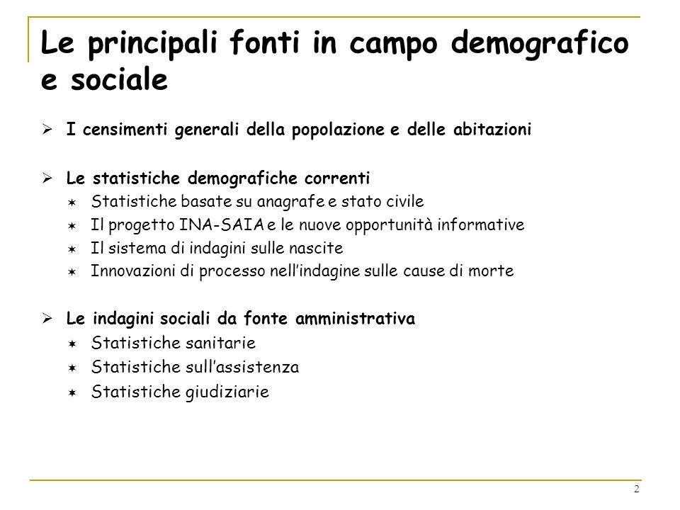 2 Le principali fonti in campo demografico e sociale I censimenti generali della popolazione e delle abitazioni Le statistiche demografiche correnti S