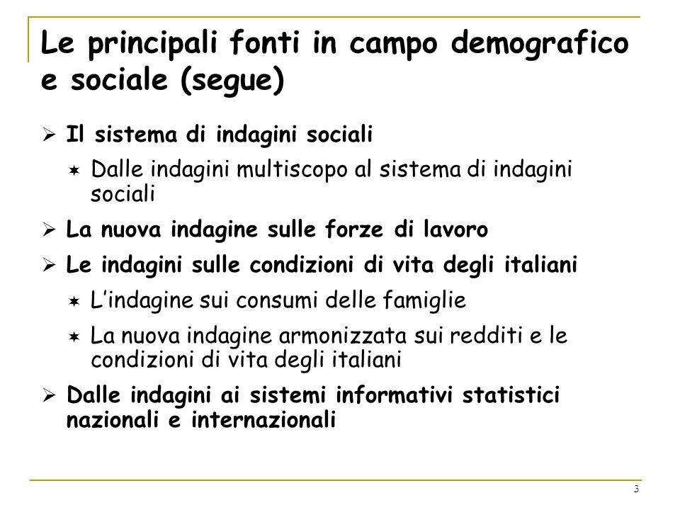 3 Le principali fonti in campo demografico e sociale (segue) Il sistema di indagini sociali Dalle indagini multiscopo al sistema di indagini sociali L